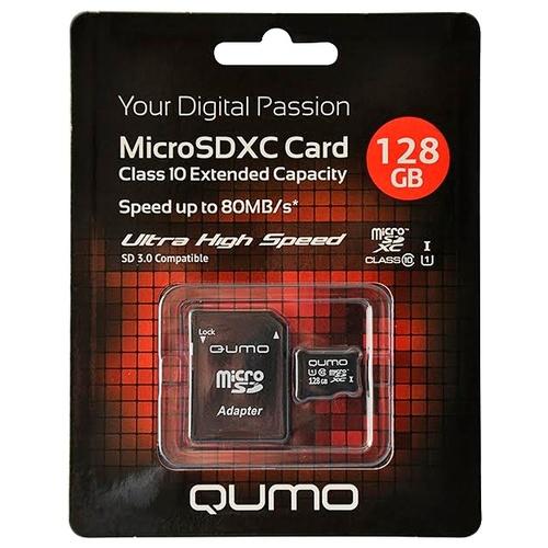 Карта памяти MicroSD 128GB Qumo Class 10 UHS-I + SD адаптер карта памяти защищена от записи microsd