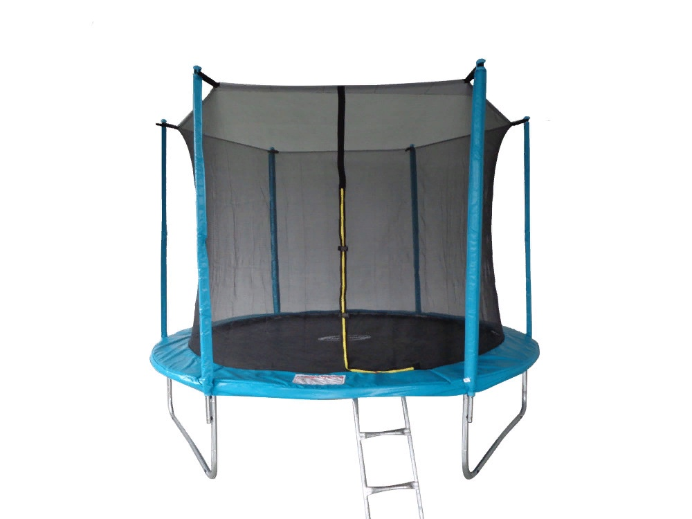 Батут SportElite 3,05м с защитной сеткой внутрь и лестницей, голубой, MZ-10FT-B