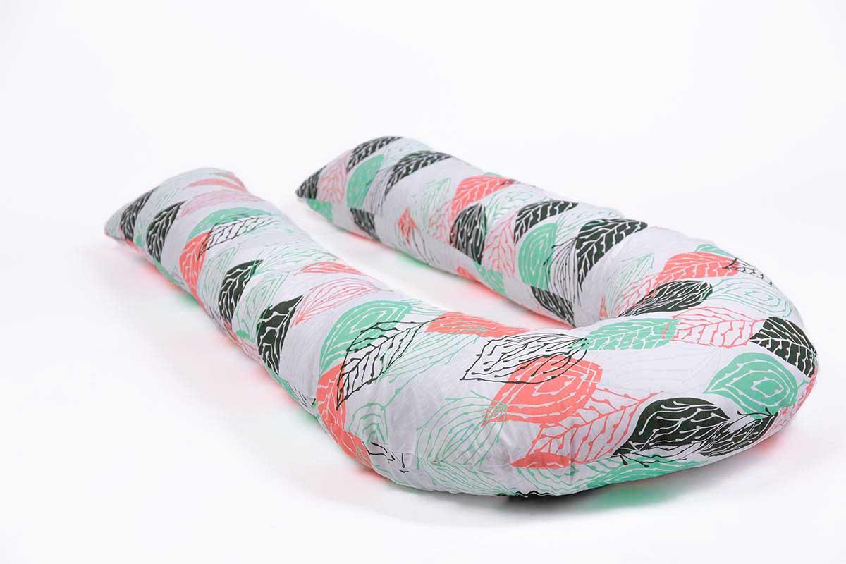 Подушка для беременных MommyPillow U 320 см Хлопковые листья с наволочкой из хлопка подушка для кормящих и беременных mommypillow u 120 коралловый