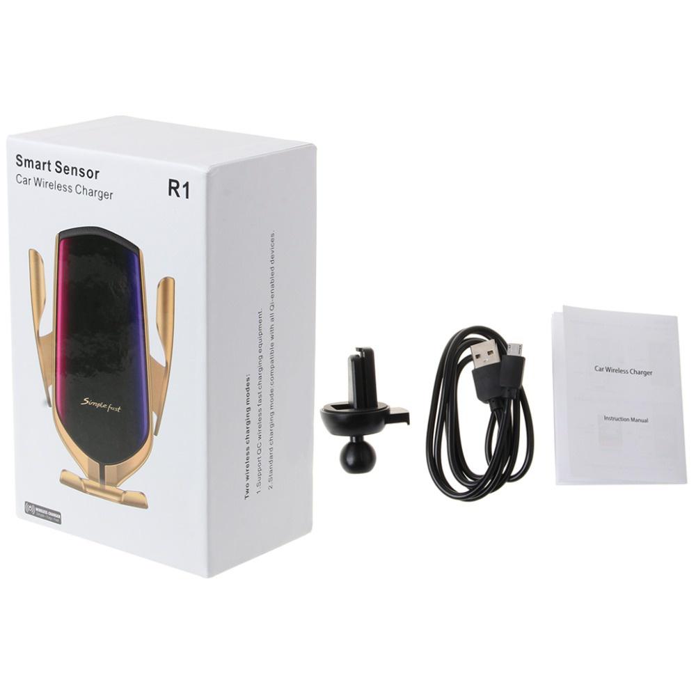 Фото - Автомобильная беспроводная зарядка-держатель с сенсорным датчиком Smart Sensor Car Wireless Charger R1 автомобильная беспроводная зарядка держатель с сенсорным датчиком smart sensor car wireless charger r1