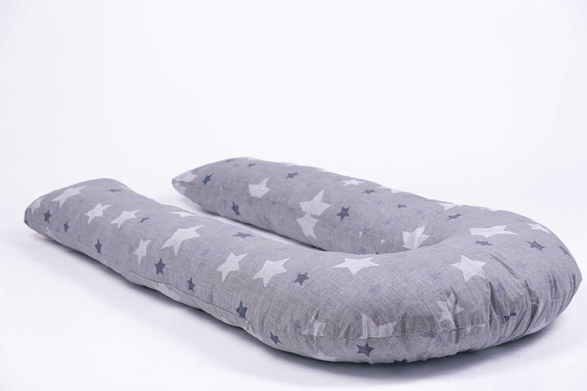 Подушка для беременных MommyPillow U 320 см Хлопковые звезды с наволочкой из хлопка подушка для кормящих и беременных mommypillow u 120 коралловый