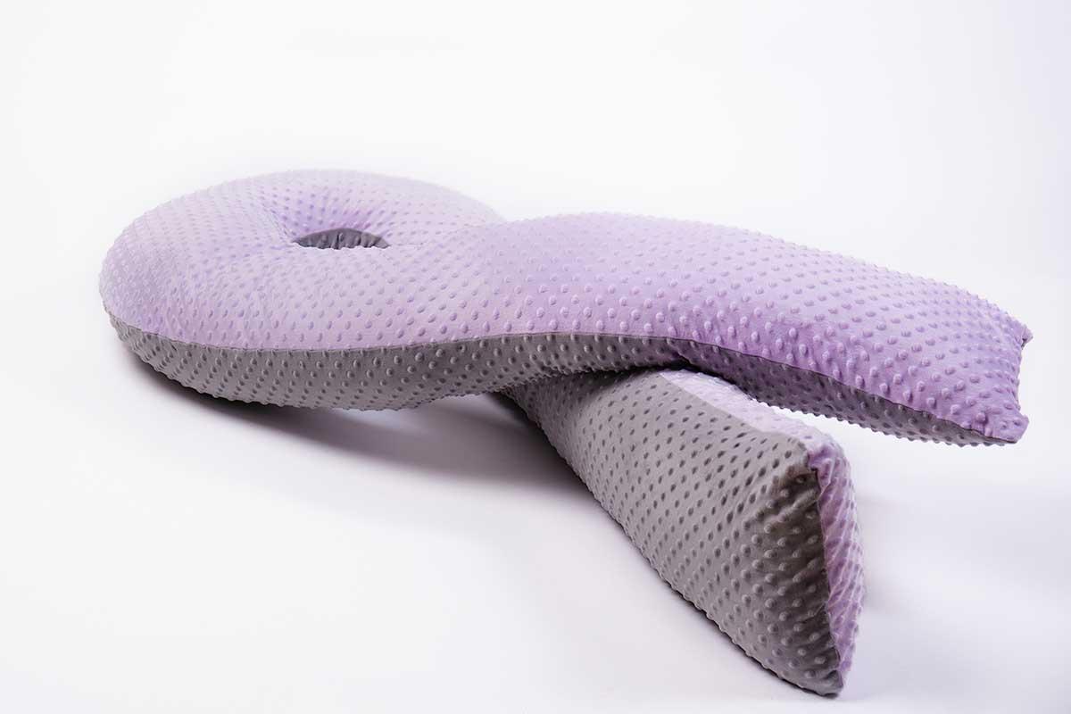Серо-сиреневая подушка для беременных MommyPillow U 360 см с двойной наволочкой Minky подушка для кормящих и беременных mommypillow u 120 коралловый
