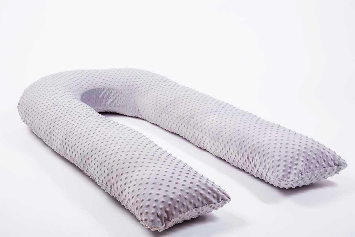 Темно-серая подушка для беременных MommyPillow U 320 см с наволочкой Minky подушка для кормящих и беременных mommypillow u 120 коралловый