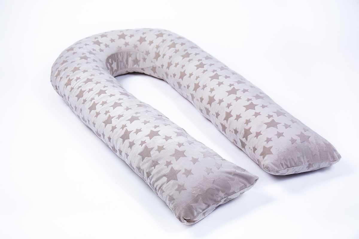 Подушка для беременных MommyPillow Серые звезды U 320 см с наволочкой из плюша подушка для кормящих и беременных mommypillow u 120 коралловый