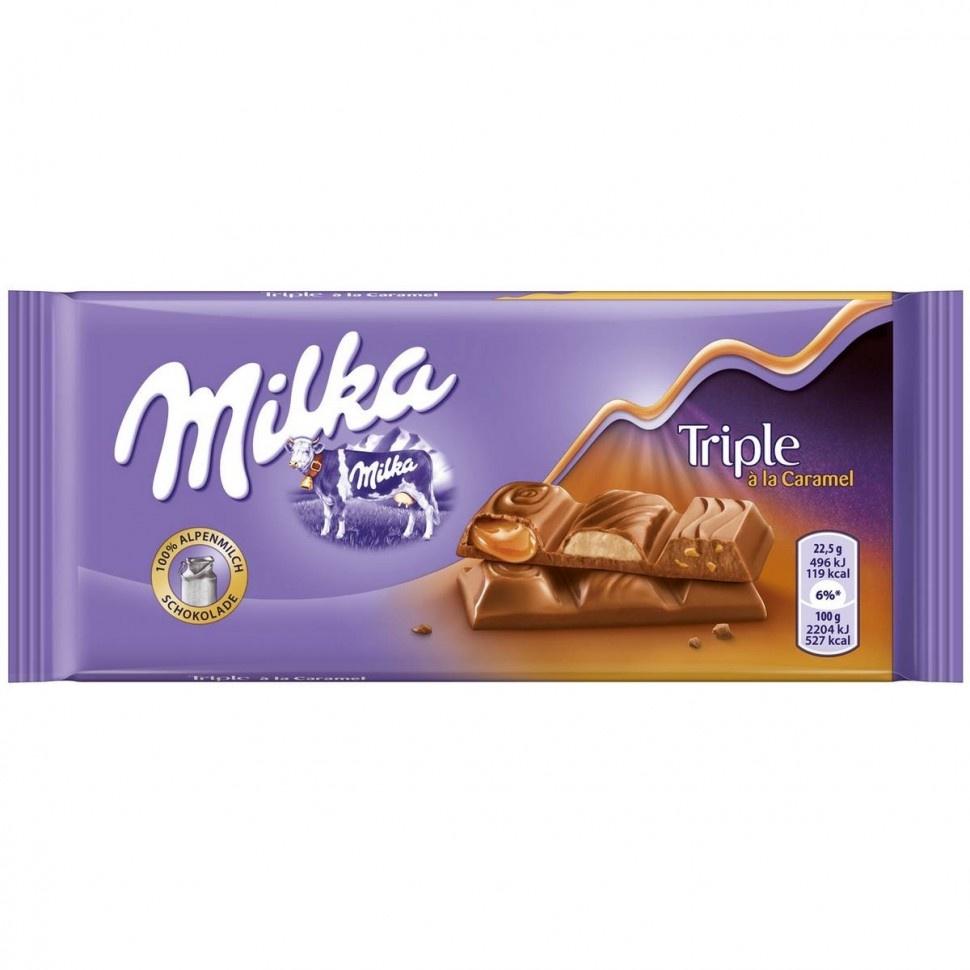 Шоколад Milka Triple Caramel, 90 г milka шоколад daim молочный шоколад с кусочками миндальной карамели 100 г