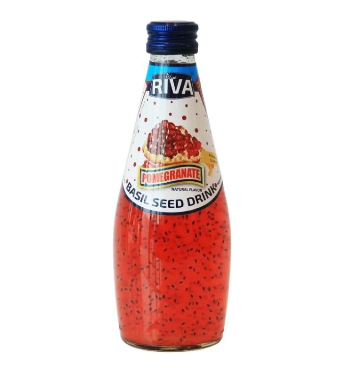 Basil seed drink Pomegranate flavor Напиток Семена базилика с ароматом гранат 290 мл