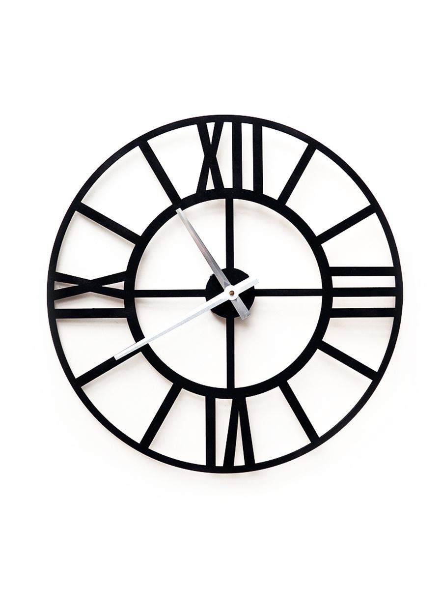 Настенные часы Roomton классические, черные, лофт, 50см