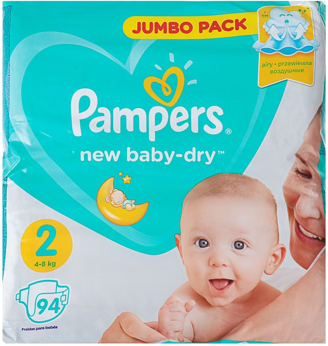 Pampers Подгузники New Baby-Dry 4-8 кг (размер 2) 94 шт