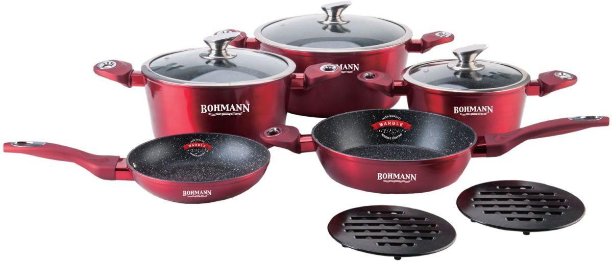 Набор посуды для приготовления Bohmann, 1019BH10, красный, 10 предметов кастрюля 29 см baumalu красный градиент 388009