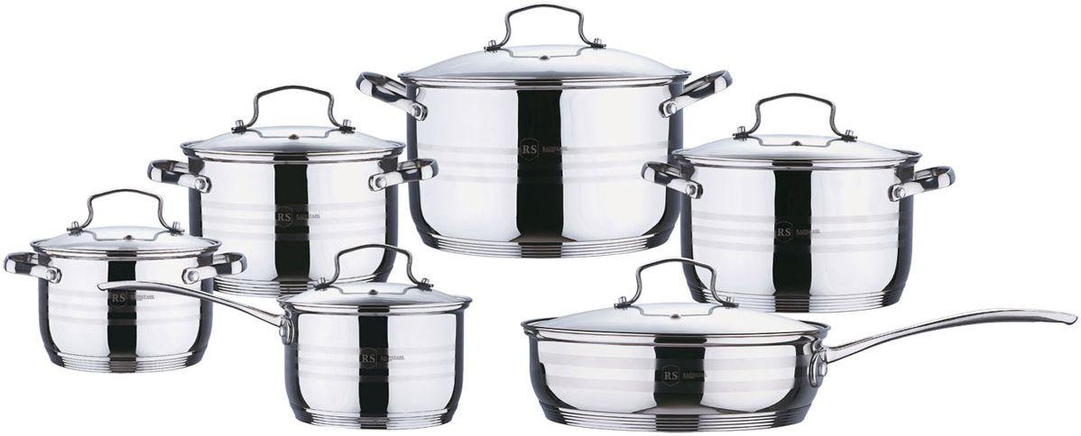 купить Набор посуды для приготовления Rainstahl, 1230-12RS/CW BK, серебристый, 12 предметов по цене 3063 рублей