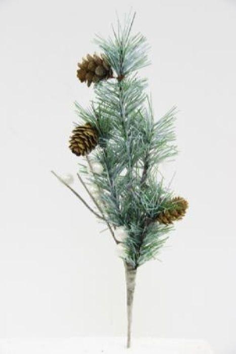 Ветка декоративная новогодняя, DN-53379, зеленый, длина 27 см
