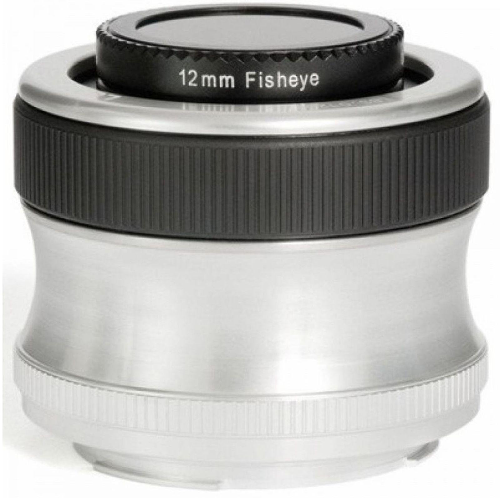 Объектив Lensbaby Scout With Fisheye 12mm f/4.0 для Nikon, черный, серебристый