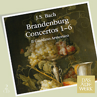 """Il Giardino Armonico"",Джованни Антонини Das Alte Werk. Bach. Brandenburg Concertos 1-6 (2 CD)"