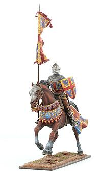 Конный рыцарь со знаменем, XIV век, Европа (Оловянная миниатюра) Авторская работа