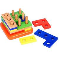 Головоломка-конструктор деревянная, 16 элементов