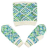 Комплект с обереговыми орнаментами народов севера России: шапка, варежки, цвет: зеленый-белый - Ручная авт