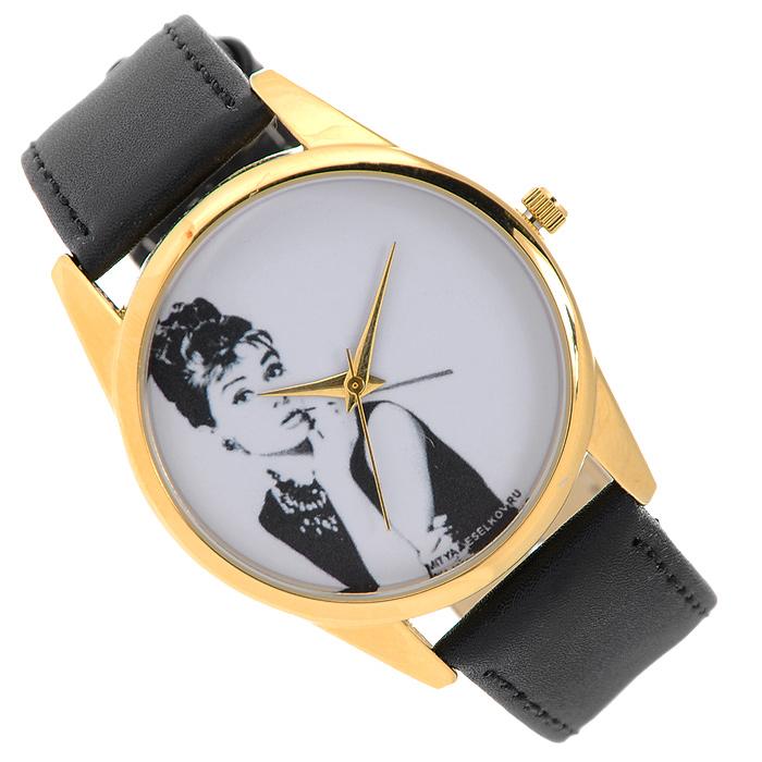 "Часы наручные Mitya Veselkov ""Одри курит"". Gold-10"