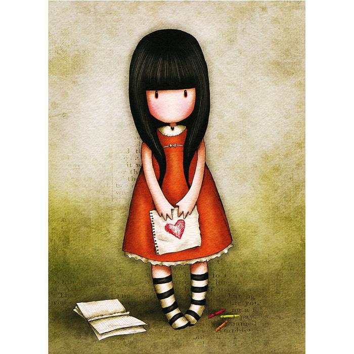 Открытка I Gave You My Heart, с конвертом. 00110100011010Оригинальная двойная открытка I Gave You My Heart станет необычным и ярким дополнением к подарку дорогому и близкому вам человеку или просто добавит красок в серые будни. Открытка оформлена стилизованным рисунком шотландской художницы Сюзан Вулкотт (Suzanne Woolcott) с изображением основного персонажа своих произведений - девочки Горджус (Gorjuss) с нарисованным сердцем. Внутри открытка без текста. К открытке прилагается конверт.