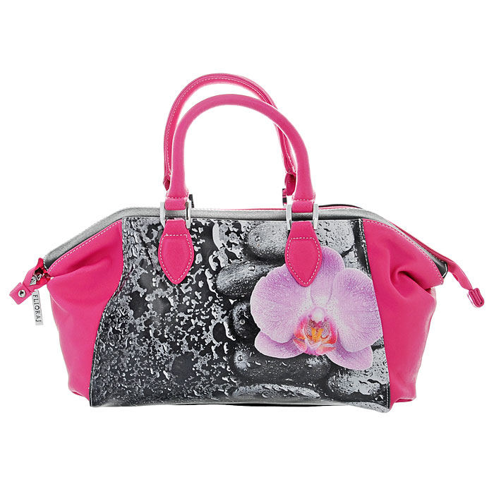 """Сумка женская Flioraj """"Орхидея"""", цвет: черный, розовый. 560374"""