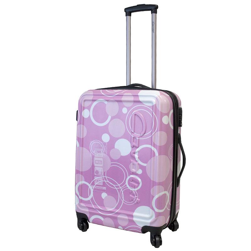 Чемодан-тележка Cavalet Malibu, 78 л, 868-60, розовый868-60 pinkСтильный чемодан-тележка Cavalet из коллекции Malibu на четырех колесах идеально подходит для поездок и путешествий. Корпус имеет жесткую конструкцию и выполнен из ударопрочного ABS-пластика с принтом в виде кругов. Чемодан имеет одно вместительное отделение для хранения одежды и аксессуаров, с возможностью увеличения объема. Отделение закрывается на двойную застежку-молнию и имеет встроенный кодовый замок с функцией TSA. Внутри - разделитель на молнии, сетчатый карман на молнии, кармашек для мелочей из прозрачного ПВХ и дополнительное большое отделение на застежке-молнии. Также в отделении предусмотрены багажные ремни для фиксации. Внутренняя поверхность изделия отделана полиэстером. В верхней части чемодана предусмотрена прорезиненная ручка для переноски. На одной из боковых сторон - пластиковые ножки, на другой - дополнительная ручка для переноски. Чемодан оснащен удобной телескопической ручкой, которая выдвигается нажатием на кнопку. ...