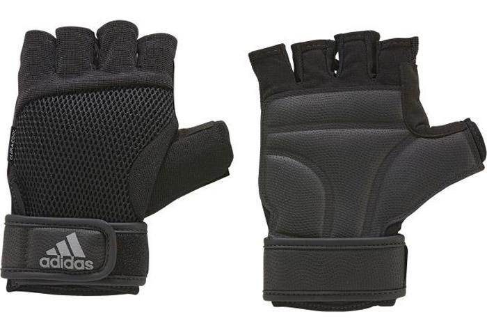 Перчатки для фитнеса adidasS99614Перчатки для более Adidas предназначены для надежного и комфортного хвата при выполнении упражнений. Мягкие вставки на ладони - для большей защиты. Застежка на липучке на запястье обеспечивает плотную посадку. Освежающая технология climacool® и сетчатая вставка на тыльной стороне для оптимальной вентиляции. Технология climacool® сохраняет приятные ощущения прохлады и свежести благодаря специальным сетчатым вставкам. Амортизирующие вставки на ладонях для дополнительной защиты и сцепления Вентилируемая сетчатая вставка на тыльной стороне. Специальная вставка в области большого пальца эффективно поглощает влагу Регулируемая застежка на липучке. Петелька между пальцами для быстрого снимания.