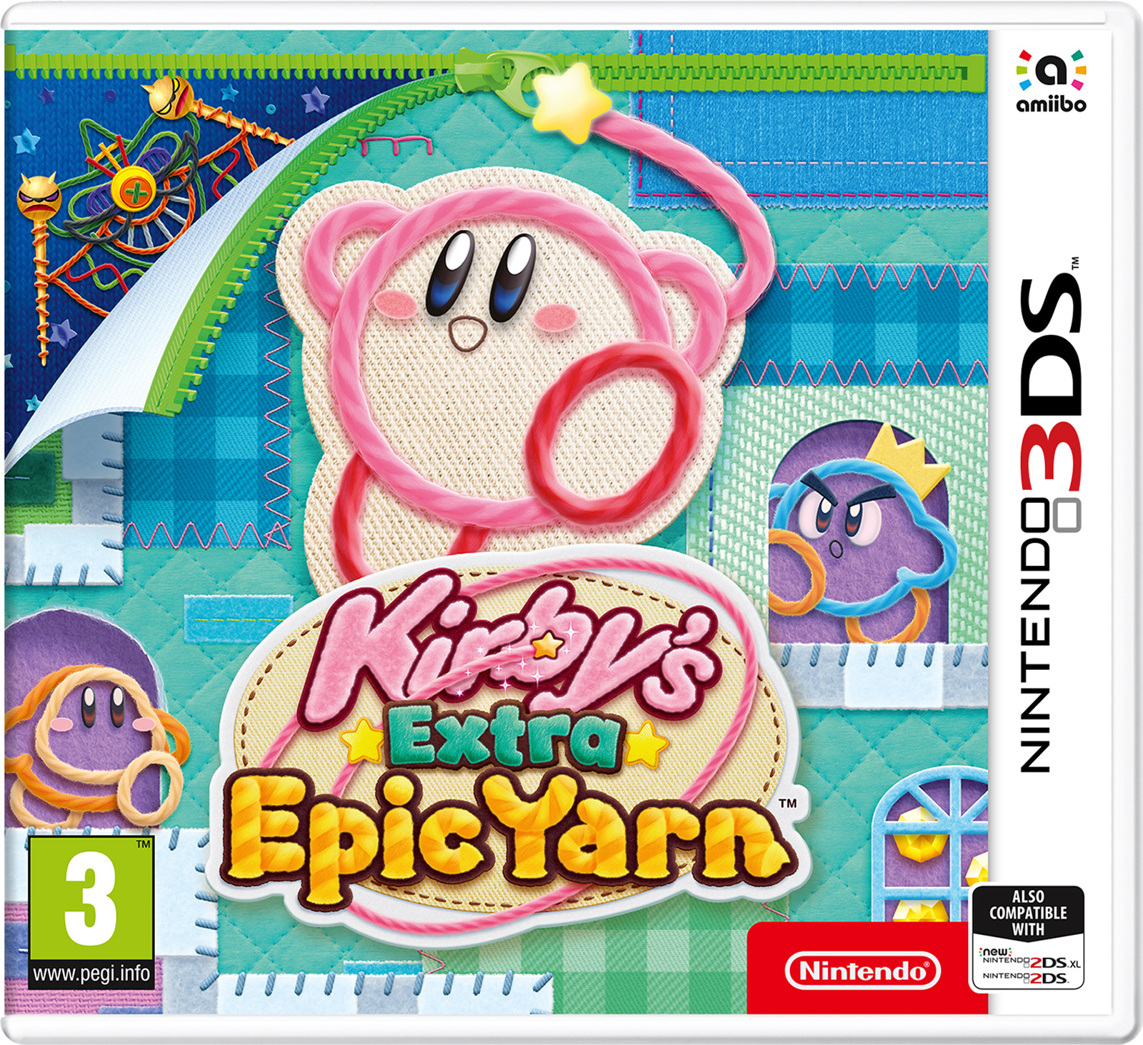 Kirby's Extra Epic Yarn (3DS) protective artificial leather case bag w carabiner for nintendo 3ds deep blue