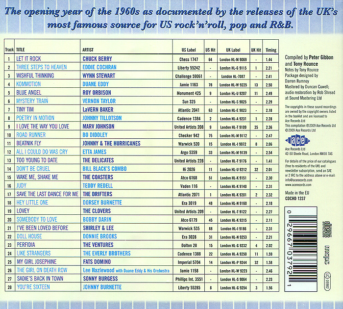 The London American Label Year By Year 1960