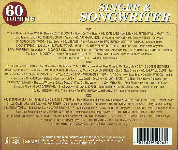 60 Top Hits. Singer & Songwriter (3 CD)