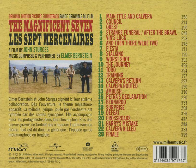 Elmer Bernstein. The Magnificent Seven. Original Motion Picture Soundtrack. Элмер Бернстайн
