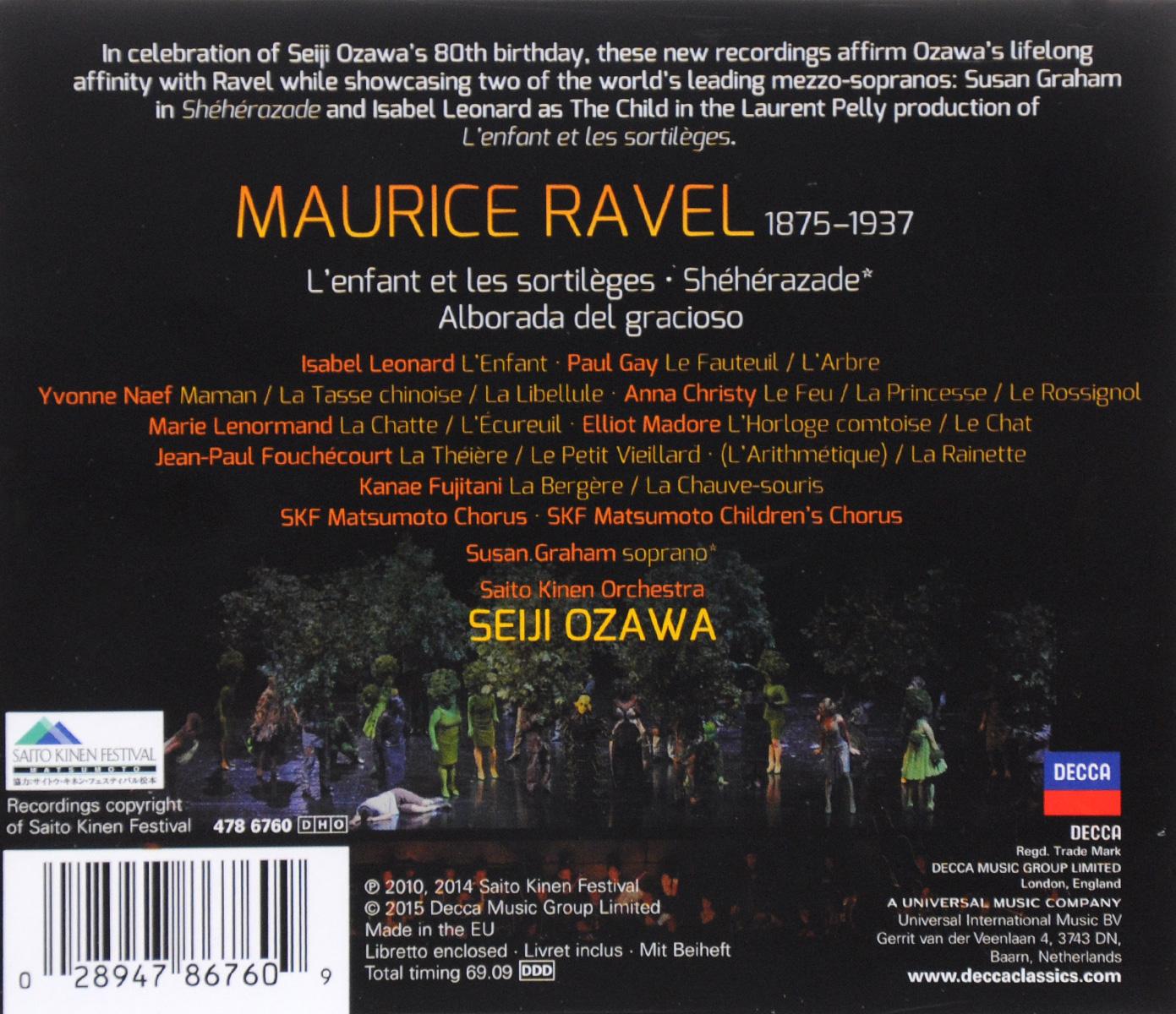 Seiji Ozawa. Ravel. L'Enfant Et Les Sortileges / Sheherazade . ...