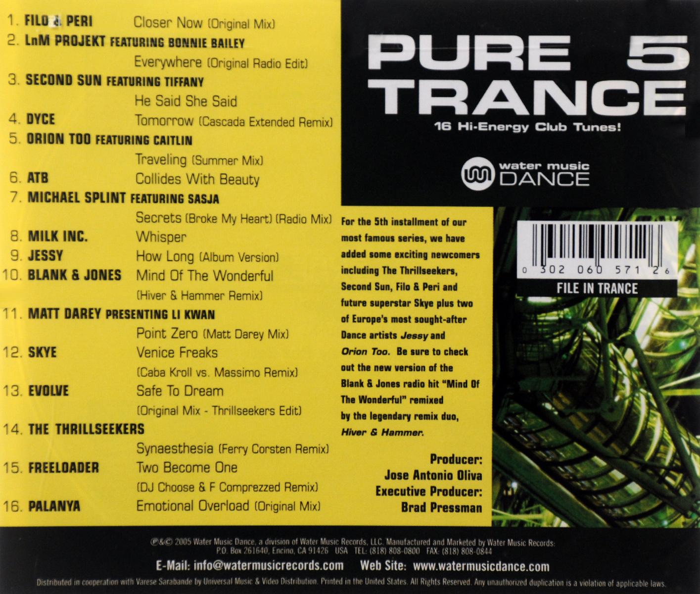 "Pure Trance 5. ""Filo & Peri"",LnM Projekt,`Second Sun`,Dyce,ATB,Майкл Сплинт,Milk Inc.,Jessy,""Blank & Jones"",Skye"