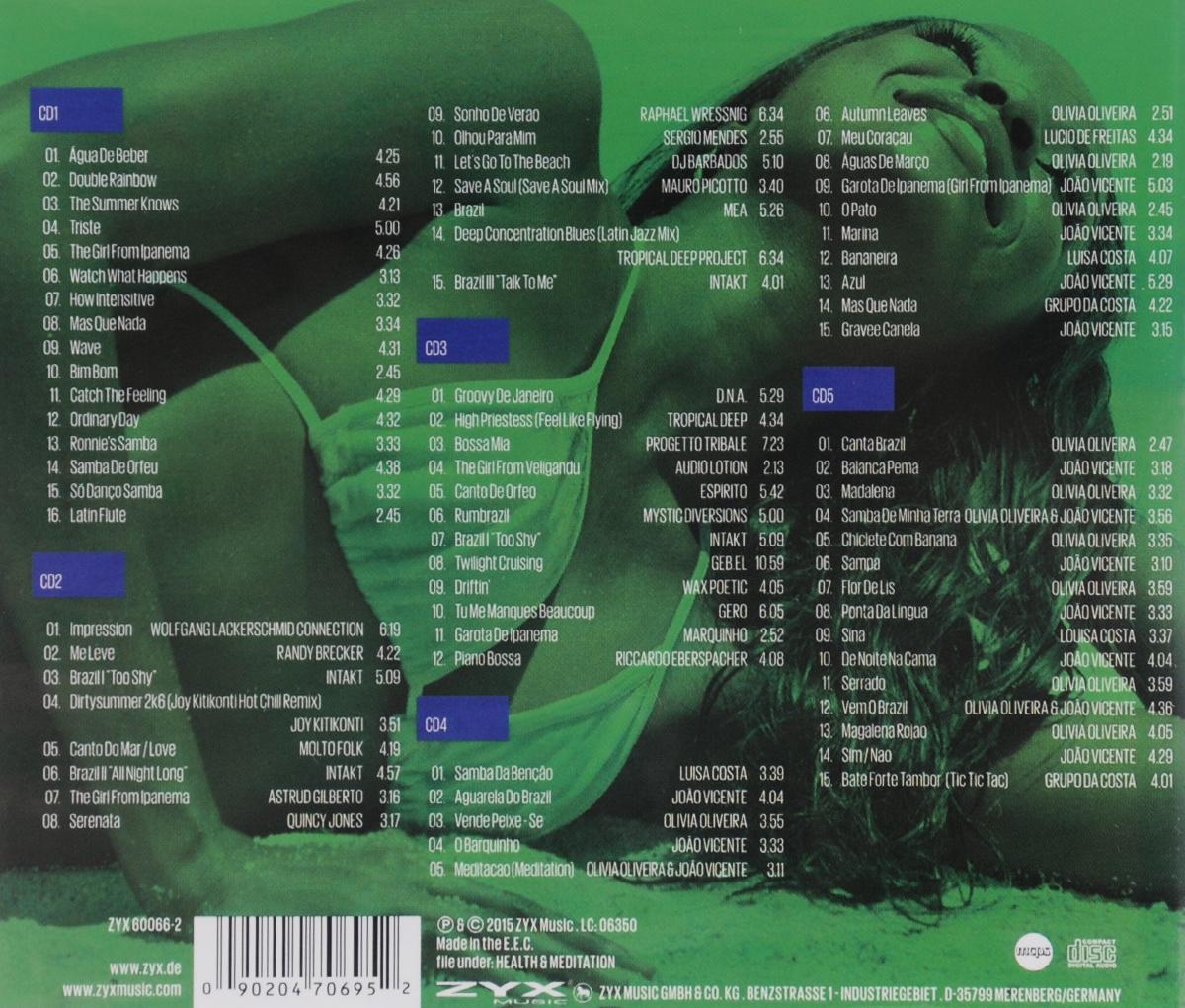 "Brasil Lounge (5 CD). ""Yellow Green And More"",Рэнди Бреккер,Intakt,Джой Китиконти,""Molto Folk"",Аструд Жильберто,Квинси Джонс,Dj Barbados,""D.N.A."",""Tropical Deep"",""Progetto Tribale"",""Audio Lotion"",""Espirito"",""Mystic Diversions"",Луиса Коста,Джо Висент,Оливия Оливейра,Лусио де Фрейтас,""Grupo Da Costa"""