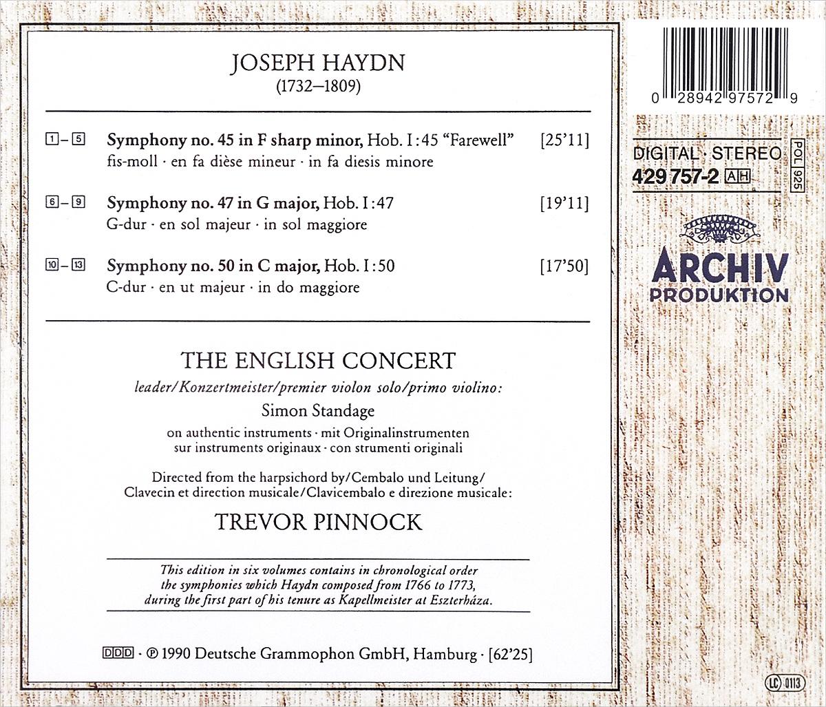 "Trevor Pinnock. Joseph Haydn. The Sturm & Drang Symphonies. Volume 6. ""Farewell"". The English Concert,Тревор Пиннок"