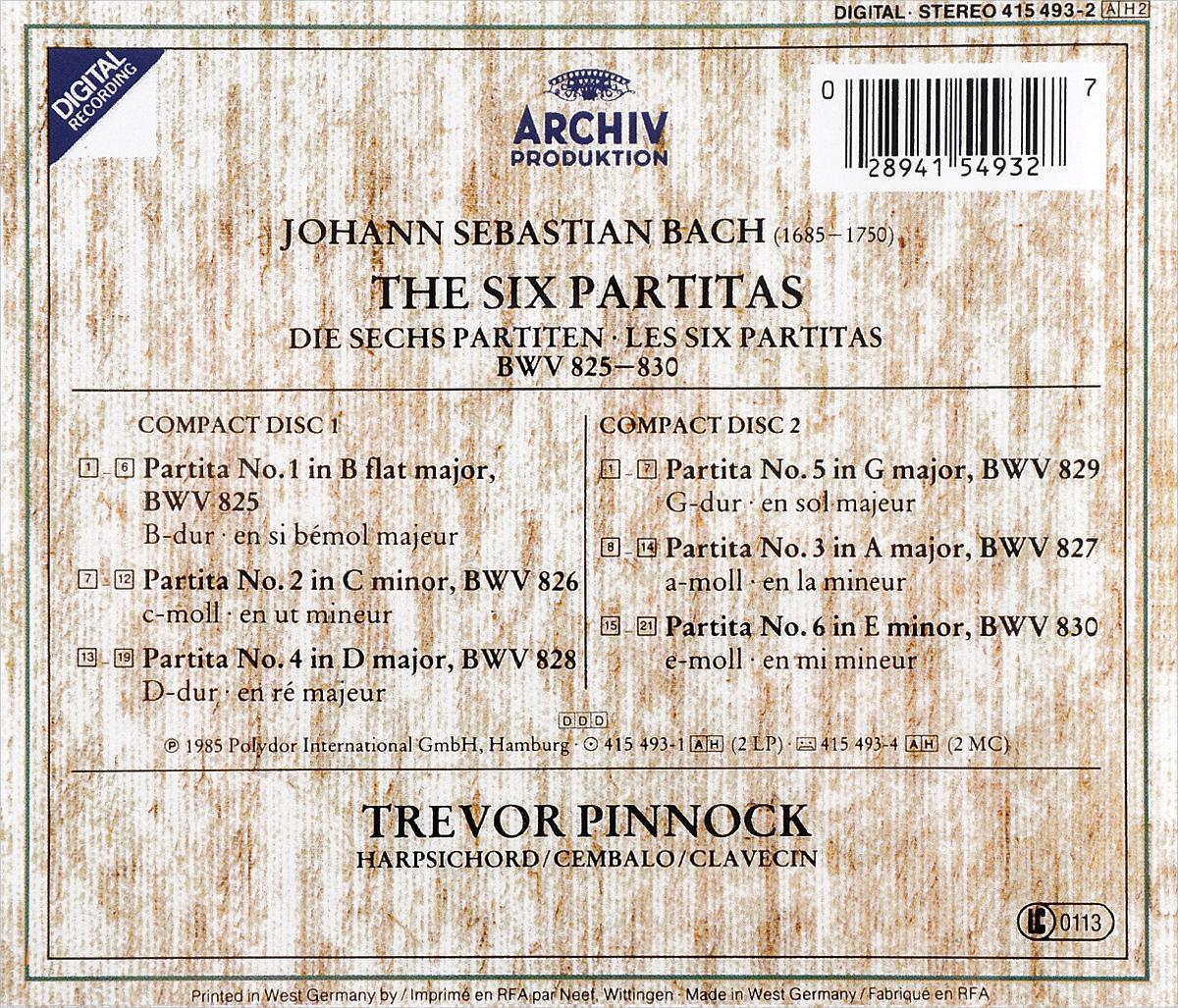 Trevor Pinnock. J. S. Bach. 6 Partitas (2 CD). Тревор Пиннок