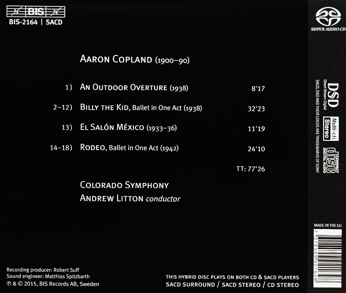 Colorado Symphony, Andrew Litton. Aaron Copland. Billy the Kid. Rodeo (SACD). Colorado Symphony,Эндрю Лайттон
