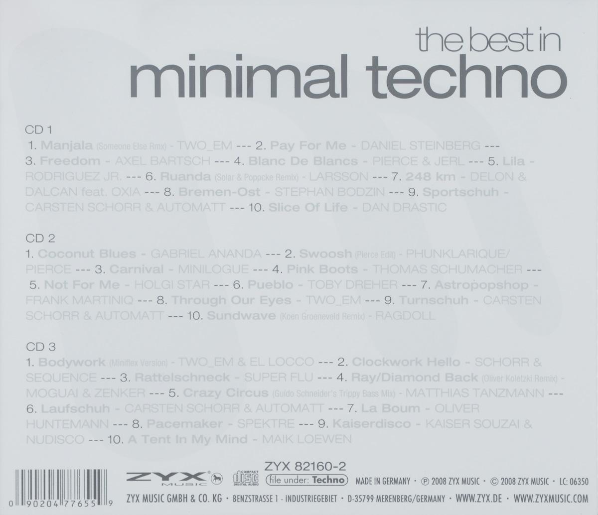 "The Best In Minimal Techno (3 CD). ""Two_Em"",Daniel Steinberg,Axel Bartsch,Pierce,Jerl,Rodriguez Jr.,Larsson,Oxia,Dalcan,Delon,Стефан Бодзин,Automatt,Габриэль Ананда,""Minilogue"",Томас Шумахер,Тоби Дреер,Франк Мартиник,Carsten Schorr,""Ragdoll"",Punklarique,""Super Flu"",Moguai,Zenker,Маттиас Танцманн,Оливер Хантмэнн,""Nudisco"",Kaiser Souzai,Майк Ловен"
