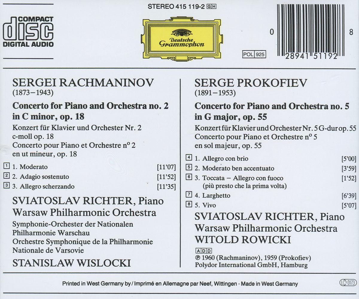 Sergei Rachmaninov. Piano Concerto No. 2 / Sergei Prokofiev. Piano Concerto No. 5. Sviatoslav Richter