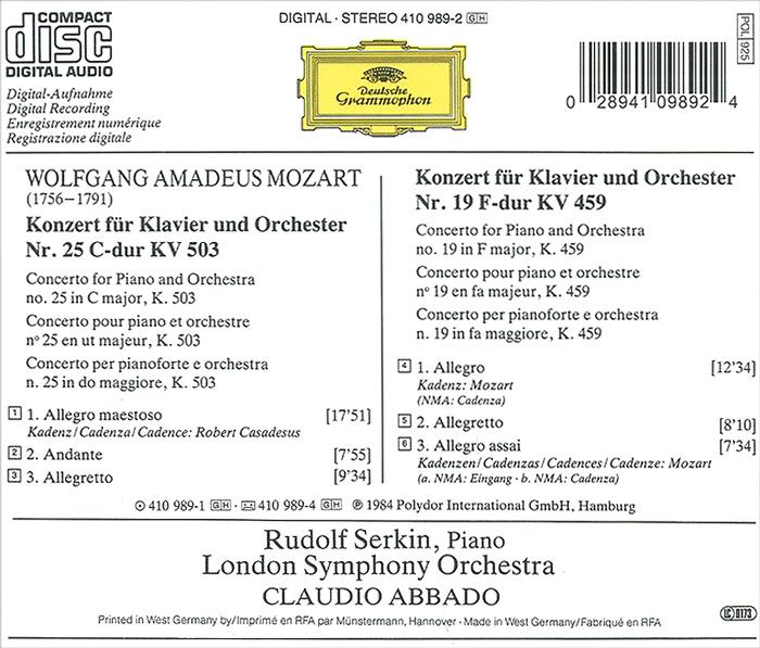 Claudio Abbado. Mozart. Piano Concerto No. 25& 19 . ...