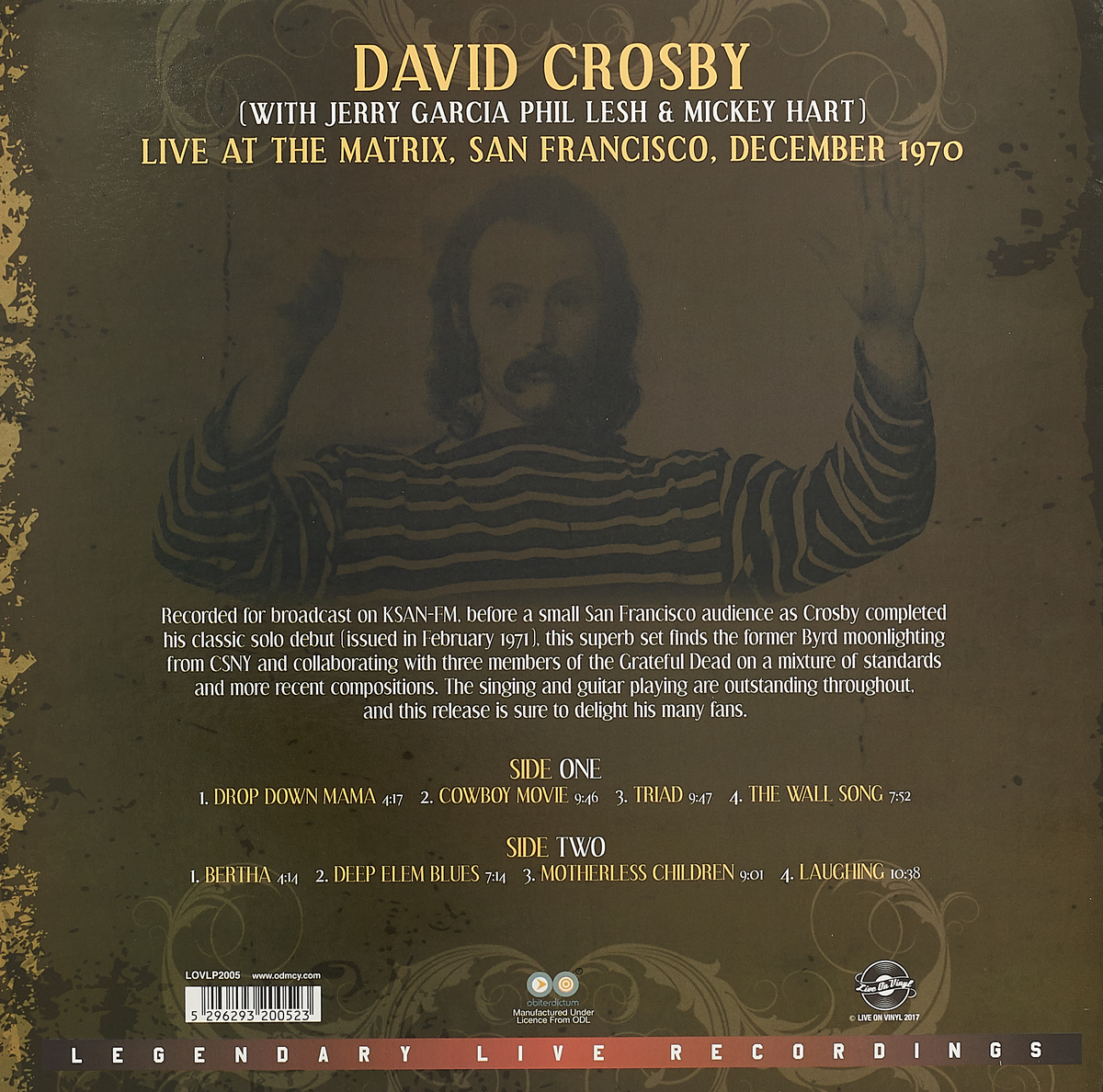 David Crosby.  Live At The Matrix December 1970 (LP)