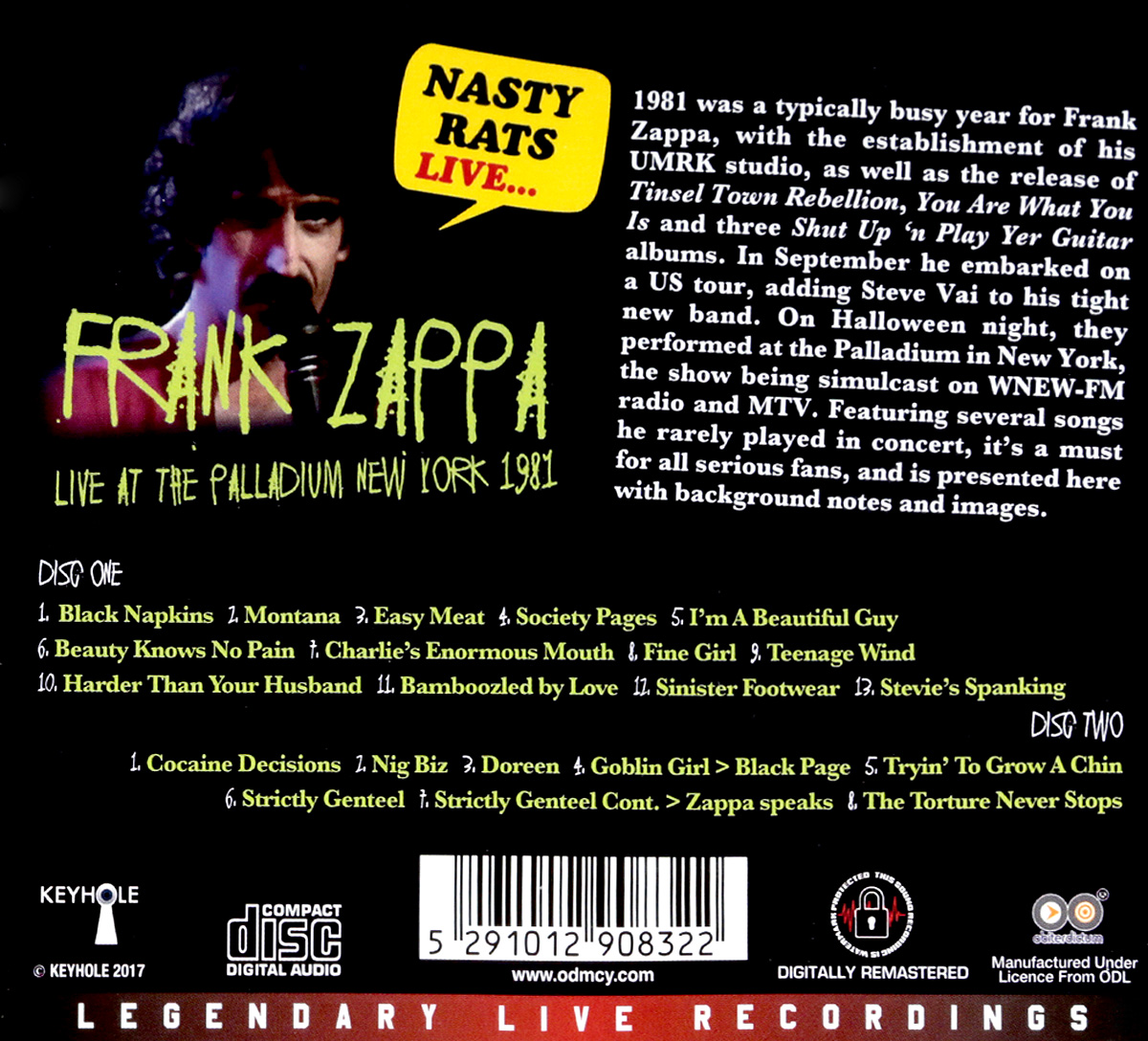 Frank Zappa.  Nasty Rats Live. . .  Live At The Palladium New York 1981 (2 CD)
