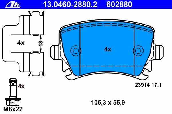 Колодки тормозные дисковые Ate. 1304602880213046028802Продукция под торговой маркой АТЕ (Германия), выпускается одним из крупнейших в мире производителей тормозных систем компанией Continental Teves Inc. Компания имеет многолетний опыт в разработке и производстве технологий и компонентов для автомобильной промышленности, с помощью которых те динамические силы, которые воздействуют на автомобиль, становятся лучше управляемыми.
