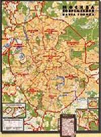 Москва. Ламинированная настенная карта в багете. #1