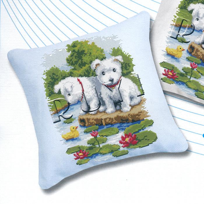 """Набор для вышивания подушки """"Щенки"""", 45 х 45 см #1"""