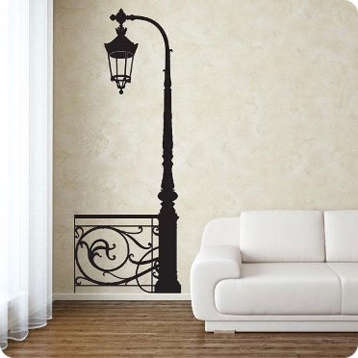 """Стикер Paristic """"Фонарь с изгородью"""", цвет: черный, 138 х 52 см #1"""