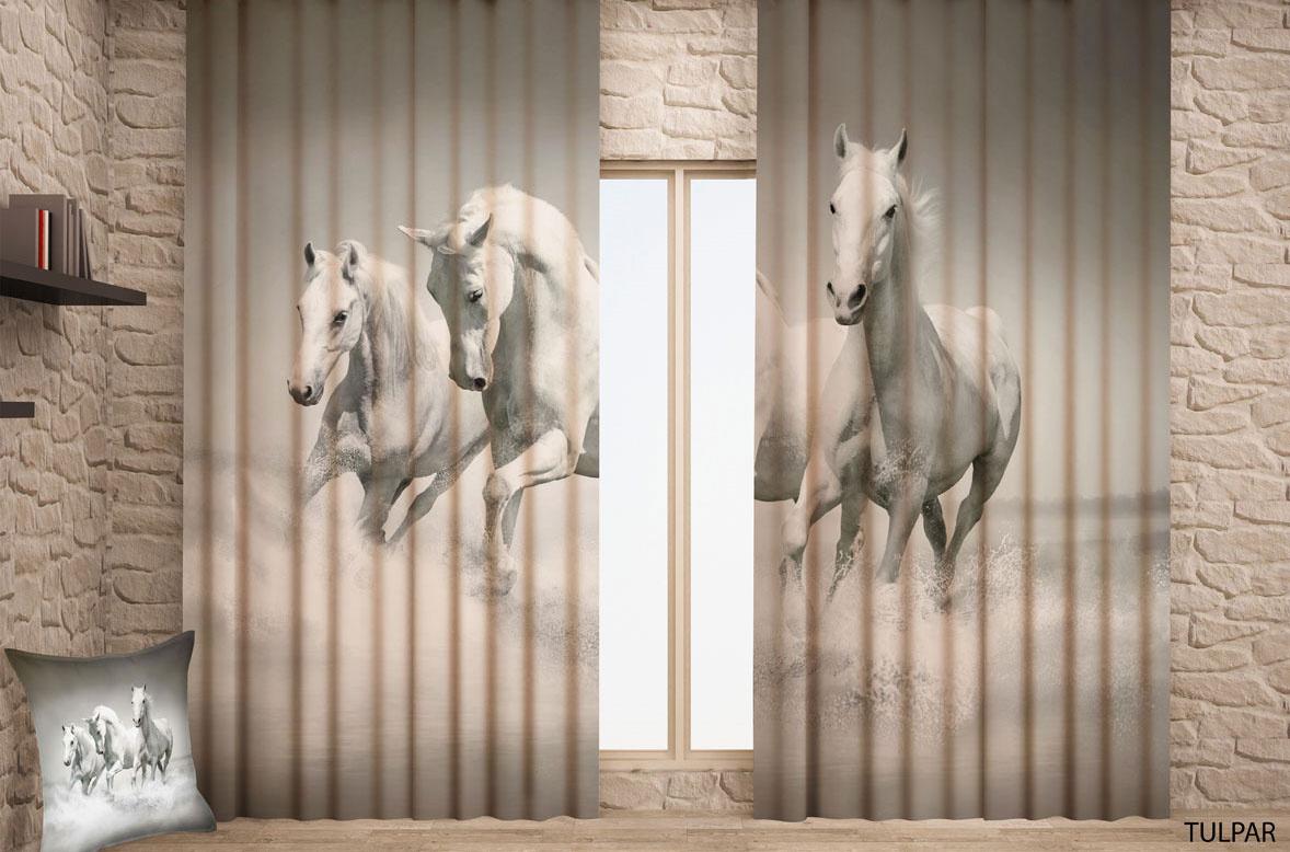 """Фотошторы Garden (Текстиль) Штора готовая с цифровой печатью Garden """"Лошади"""", на ленте, 150 см х 270 #1"""