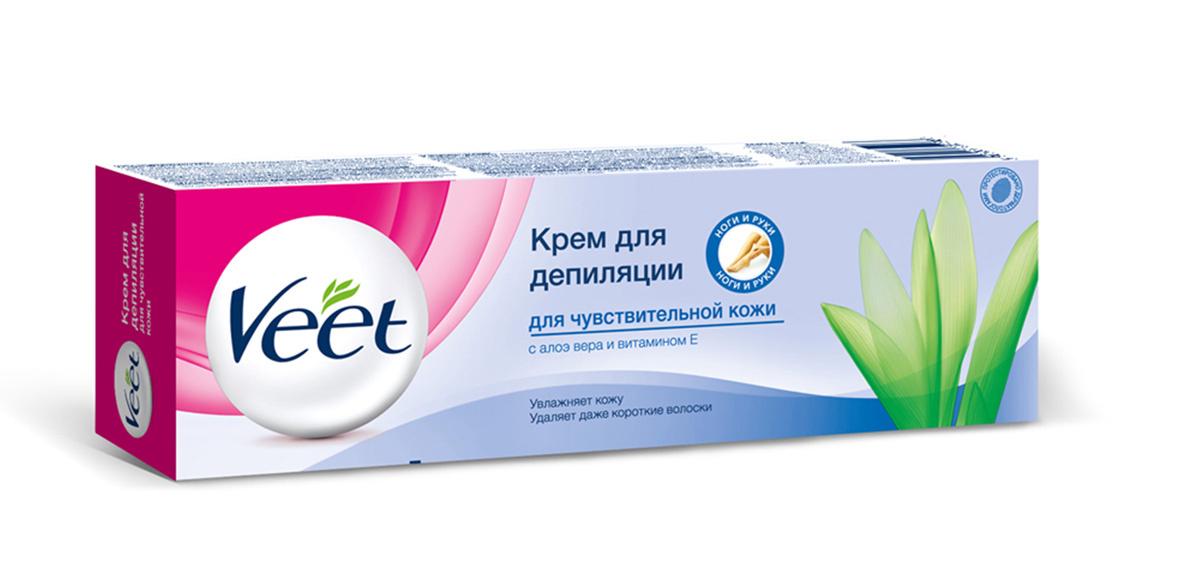 Veet Крем для депиляции, с алоэ вера и витамином Е, для чувствительной кожи, 100 мл  #1