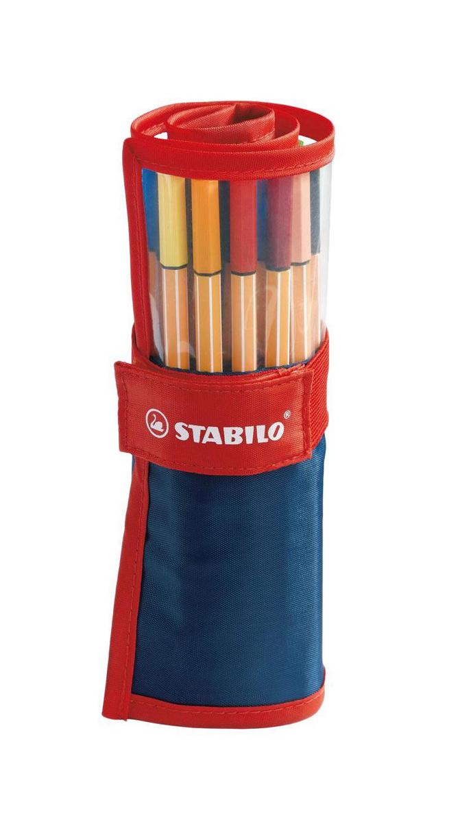 Набор капиллярных ручек линеров STABILO Point 88, 25 цветов, нейлоновый футляр  #1