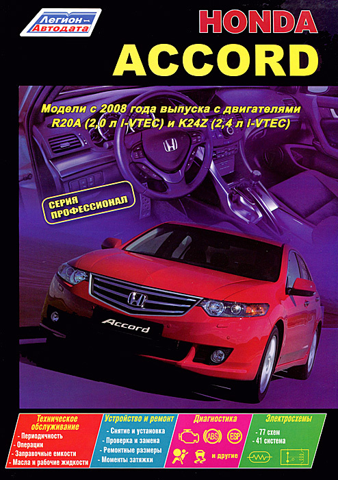 Honda Accord. Модели с 2008 года выпуска с двигателями R20A (2,0 л i-VTEC) и К24Z (2,4 л i-VTEC). Устройство, #1