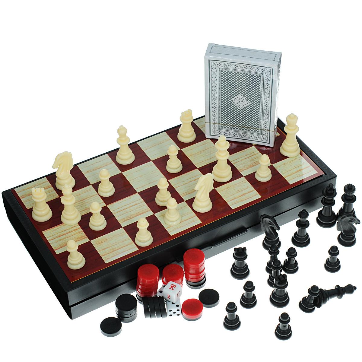 """Набор настольных игр Bondibon """"Удачная партия"""", 4в1: нарды, шашки, шахматы, карты  #1"""
