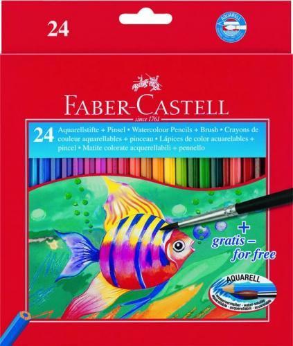 Акварельные карандаши COLOUR PENCILS с кисточкой, набор цветов, в картонной коробке, 24 шт.  #1